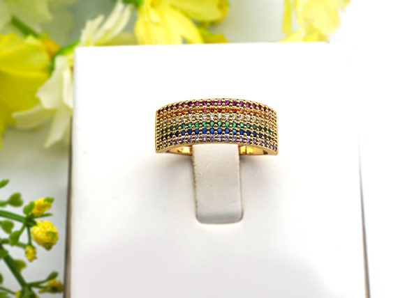 PRE-SELLING Colorful CZ Micro Pave Ring, Rainbow Cubic Zirconia Gold Ring, Adjustable Ring, 8x21x17mm,sku#X16