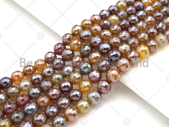 Mystic Golden Brown Faceted Fire Agate Beads, 6mm/8mm/10mm/12mm Silver Plated Fire Agate, 15.5'' Full Strand, SKU#UA207