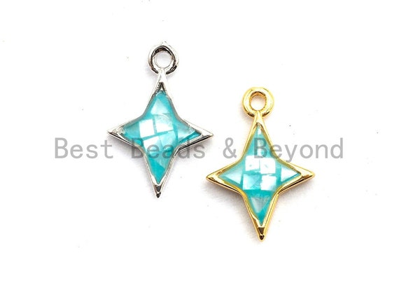 100% Natural Aqua Blue Color North Star Shell Charm/Pendant,Turquoise Blue Shell Pendant, Bracelet/Necklace Charm, 10x14mm,SKU#Z344