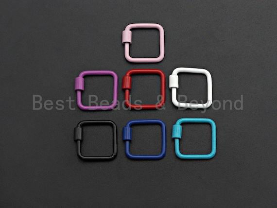 PRESELLING Colorful Enamel pave Square Shape Clasp, Black/Red/Pink/White/Blue Carabiner Clasp, 18mm, sku#H242