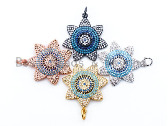 1pc/2pcs CZ Turquoise Cobalt Black Micro Pave Flower Evil Eye Pendant, Cubic Zirconia Evil Eye Pendant,CZ Micro Pave Flower 24x27mm, sku#L45