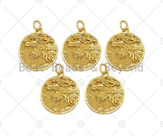 Embossed Lion Head On Round Coin Shape Pendant, 18K Gold Medallion Charm,Necklace Bracelet Charm Pendant,18x20mm,Sku#Z1326