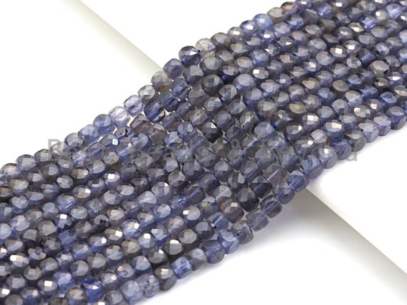 """High Quality Natural Lolite Beads, 4mm Faceted Cube Lolite Beads, 16"""" Full Strand, Sku#U769"""