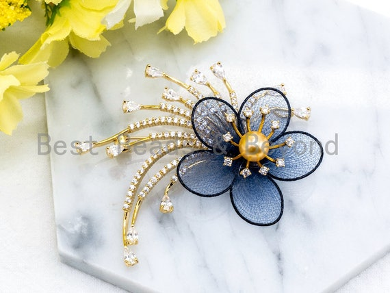 CZ Micro Pave Blue Silk Flower Brooch with 8mm Round Shell Pearl, Gold Tone Pave Flower Brooch Pin, Silver Flower Jewelry 52x64mm, Sku#P39