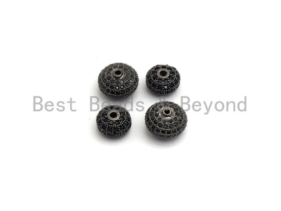 PRE-SELLING Black CZ Pave On Black Micro Pave Roundel Spacer Beads with Black Crystal for Bracelet, Spacer Beads,8x12/6x10mm, sku#G415