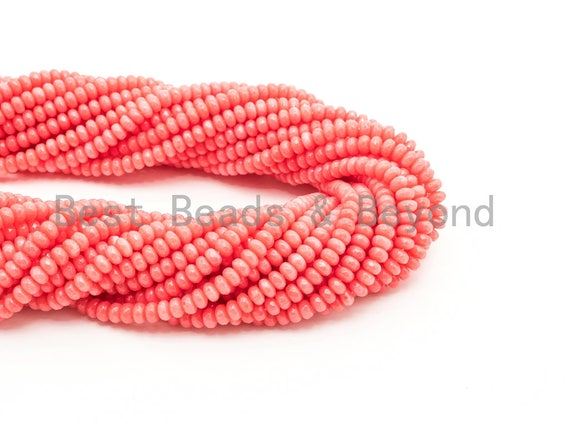 Quality Natural Dyed Pink Coral Beads, 3x5mm Rondelle Faceted Gemstone Beads,Loose Coral Beads, 15.5inch strand, SKU#U119