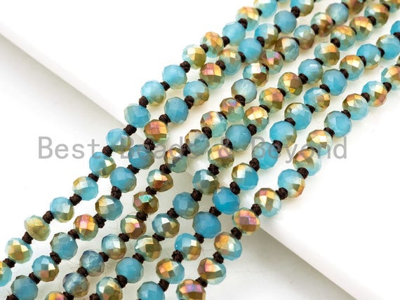 """60""""/36"""" Long Hand Knotted Blue Gold Color Crystal Necklace, Double Wrap Necklace, Turquoise Color 4mm/8mm Rondelle Crystal Beads, SKU#D19"""