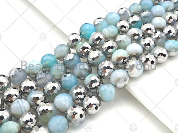 """ETSY EXCLUSIVE Natural Half Silver Opal Blue Agate Beads, 8mm/10mm/12mm Round Faceted Light Blue Agate Beads, 15.5"""" Full Strand, sku# UA126"""