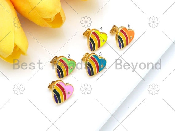 Colorful Rainbow Enamel Heart Earrings, 18K Gold Filled CZ Micro Pave Stud Earrings, Enamel CZ Jewelry, 14x14mm, Sku#O69