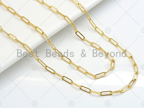 3.3x9mm Paper Clip Chain by Yard, Dainty Slim Link Chain, Gold Plated Brass Paper Clip Chain, Wholsale Chain, sku#LK123