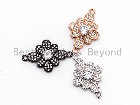 CZ Micro Pave Rhombus Flower Connector/Link, Cubic Zirconia Pave Bracelet Necklace Connector,16x25mm,sku#Y37