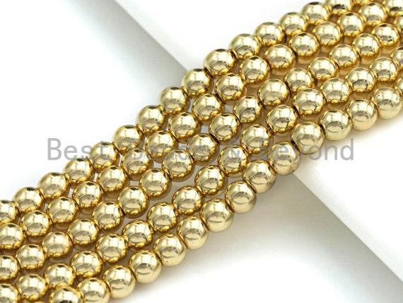"""New Light Gold Natural Hematite Beads, 6mm/8mm/10mm Round Smooth Light Gold Hematite Beads, 15.5"""" Full Strand, sku#S125"""