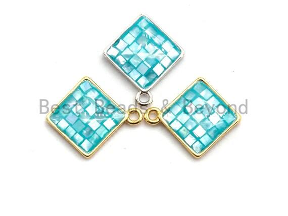 100% Natural Aqua Blue Color Shell Diamond Shape Charm/Pendant, Turquoise Blue Shell, Shell Charm, 13x16mm,SKU#Z326