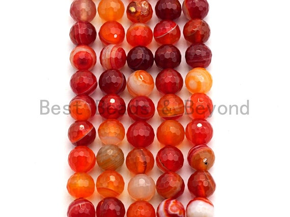 High Quality Faceted Red Banded Agate beads, 6mm/8mm/10mm/12mm Orange Agate Gemstone beads, Natural Agate Beads, 15.5inch strand, SKU#U456