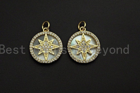 Mother-of-pearl Inlay North Star Round Pendant/Charm, North Star Round Coin Cubic Zirconia Pendant,mm,Sku#Z1097