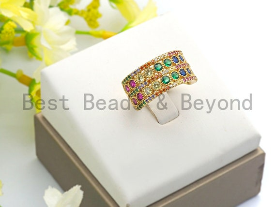 PRE-SELLING Colorful CZ Micro Pave Wide Strip Open Ring, Strip Cubic Zirconia Gold Ring, Adjustable Ring, 11x21x17mm,sku#X65