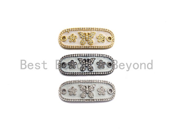 White Enamel Butterfly Flower Oval Bar Connector ,CZ Micro Pave Oil Drop Connector, Enamel Jewelry,11x29mm,sku#Z612