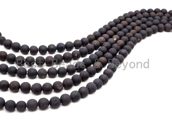 Druzy Black Plated Agate beads Strand, 6mm/8mm/10mm/12mm/14mm Round Smooth Matte Black beads, Natural Agate Beads, 15.5inch strand, SKU#U121