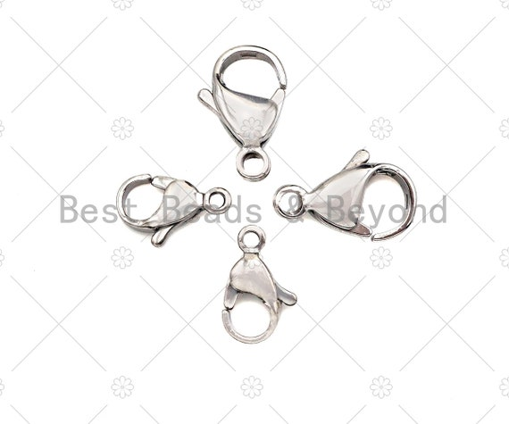 High Quality Stainless Steel Lobster Claw Clasp, Simple Lobster claw clasp, Silver Lobster Claw, 12mm/15mm Wholesale Lobster Claw, sku#C116