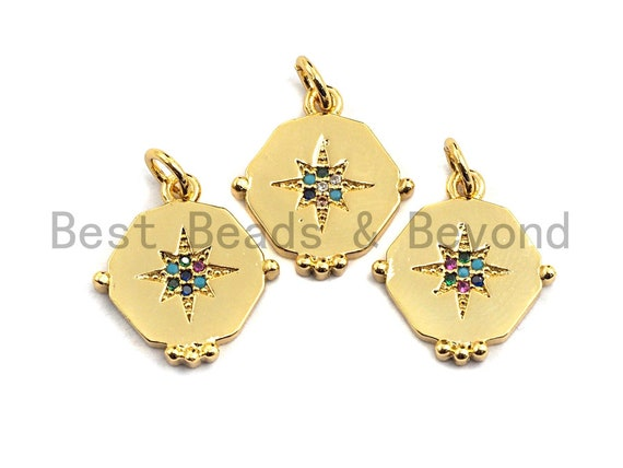 PRE-SELLING CZ Colorful Micro Pave Flat Hexagon Gold With North Star Pendant, North Star Shaped Pave Pendant, Gold plated, 15x17mm, Sku#F872