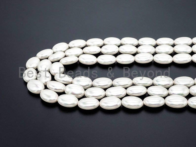 SKU#T63 7x13x18mm White Pearl Oval beads 16inch full strand Flat Oval Smooth Pearl Shell Beads Natural AB Color Mother of Pearl beads