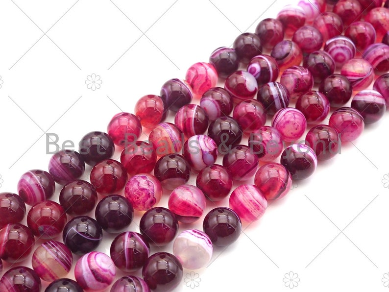 Natural Agate Beads Round 6mm8mm10mm12mm 15.5Full Strand sku#UA118 High Quality Fuchsia Purple Banded Agate Smooth