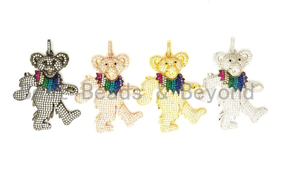 CZ Micro Pave Dancing Teddy Bear Pendant, Cubic Zirconia Focal Pendant, Gold/Silver/Rose Gold/Black, 36x45mm, SKU#F515