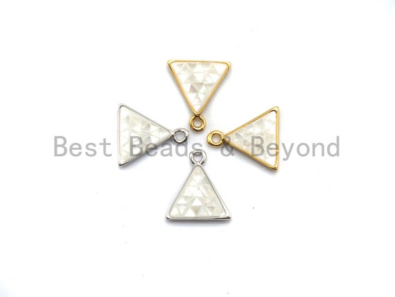 100% Natural White Color Shell Triangle Charm in Gold/Silver, White Shell Pearl Charm/Pendant, Shell Beads, 11x12mm,SKU#Z307