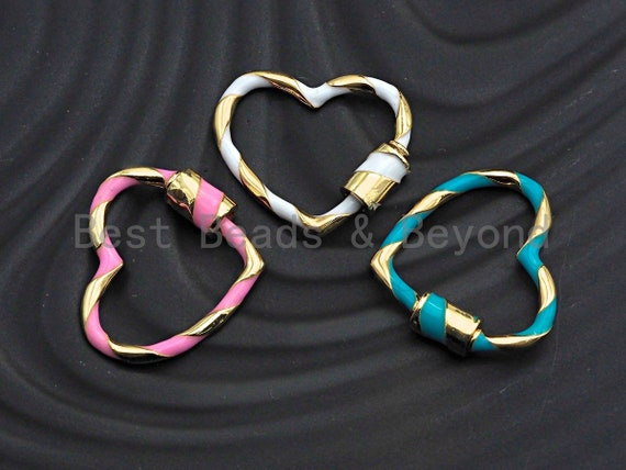 Colorful Enamel Pave Heart Shape Clasp, Gold Carabiner Clasp, 23x25mm, sku#H162