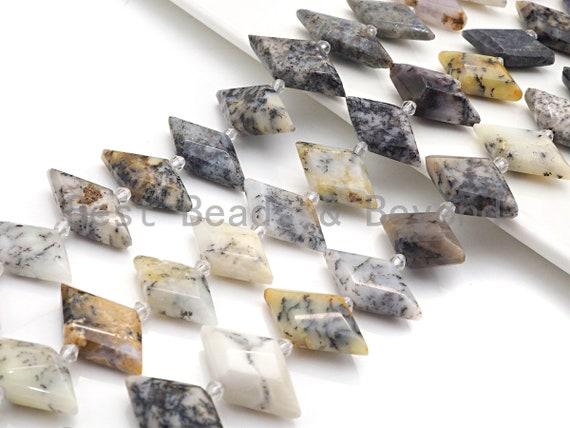 High Quality Natural Dentric Opal Horse Eye Shape Beads, Natural Dentric Opal beads, 16x30mm, sku#U678