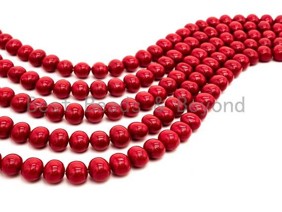 Red Natural Mother of Pearl beads,13x15mm Pearl Potato beads, Loose Potato Smooth Pearl Shell Beads, 16inch strand, SKU#T87