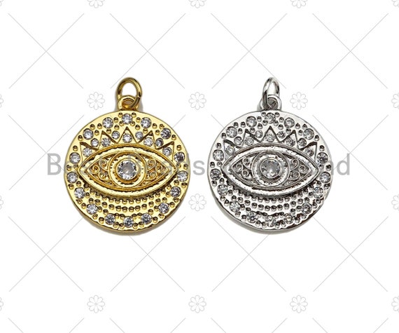 CZ Micro Pave Evil Eye On Round Coin Pendant/Charm,Cubic Zirconia Charm, Necklace Bracelet Charm Pendant,19x27mm, Sku#L415