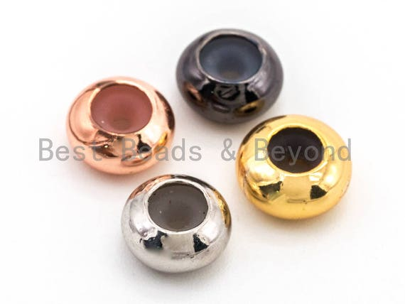 5PCS/10PCS Rondelle Rubber Stopper beads, 8mm Stopper beads 1mm Hole, CZ Spacer beads charm holder, Bracelet Necklace DIY SKU#N42