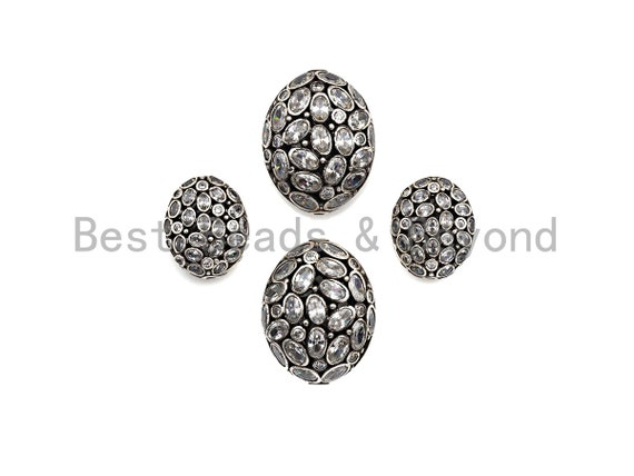 CZ Micro Pave Flat Oval Beads, Cz Pave Egg Beads, Cubic Zirconia Pave Beads, CZ Spacer Beads,16x19/25x27mm,sku#G419