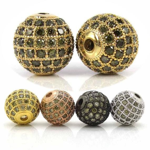 Olive Green CZ Micro Pave Shamballa Ball Beads, 6mm/8mm/10mm/12mm, Round Pave Spacer Beads, Rose Gold/Gold/Silver/Black, sku# G308OG