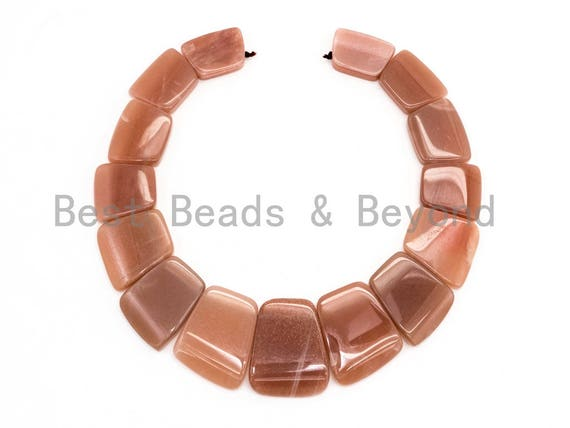 Quality Natural Brown Moonstone Graduated 17-35mm Trapezoid Beads Strand, Natural Brown Moonstone Gemstone Beads, 1 strand,sku#U224