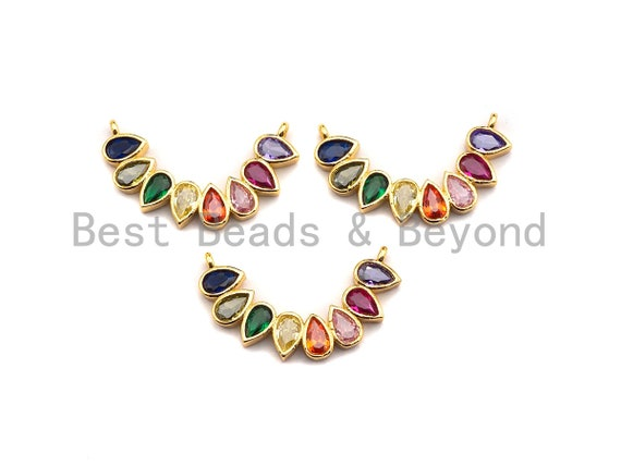 PRE-SELLING Colorful Teardrop CZ  Arc-shaped Smiley Pendant, Cz Pave Bracelet Necklace Pendant in Gold Finish,25x6mm, sku#F907