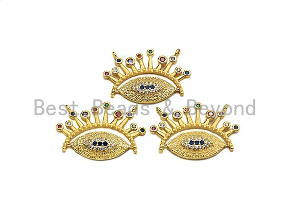 PRE-SELLING Colorful CZ Micro Pave Evil Eye With Long Eyelash Pendant, Cz Pave Bracelet Necklace Pendant in Gold Finish,29x20mm, sku#F904