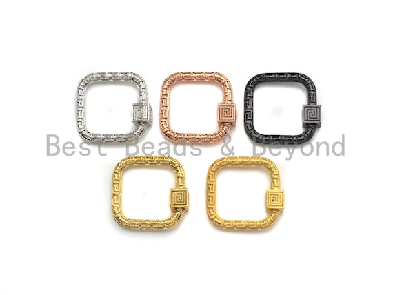 NEW Engraved Square Shape Clasp, CZ Pave Clasp, Gold/Silver/Rose Gold/Gunmetal Carabiner Clasp, 22mm, sku#H207
