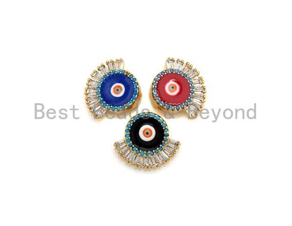 CZ Pave Enamel Evil Eye Pendant/Charm, Black/Blue/Red Evil eye enamel Pendant Charm, 16x14mm, sku#Z737