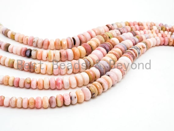 8-18mm High Quality Natural Pink Opal Graduated Faceted/Smooth Rondelle Gemstone Beads, Pink Opal Gemstone Beads, 15.5inch strand, SKU#U203