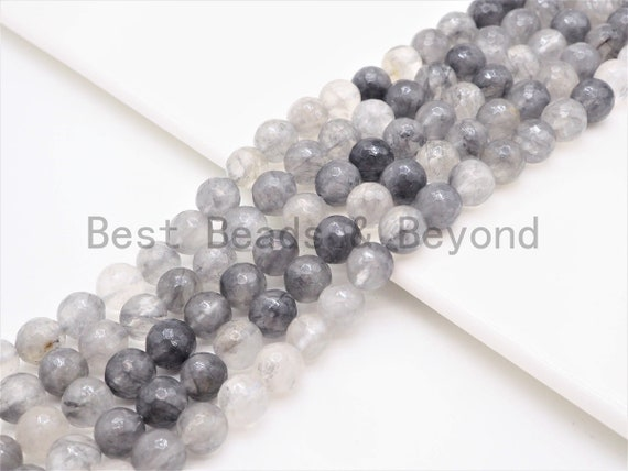 Natural Cloudy Quartz ,Faceted Round Gemstone Beads,Gray Color Beads,6mm/8mm/10mm/12mm beads, 15.5inch strand, SKU#U413