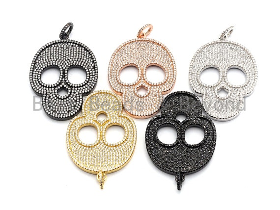 CZ Clear/Black Micro Pave Skull Pendant, CZ Pave Pendant, Gold/Rose Gold/Silver/Gunmetal plated, Halloween Pave, 35x50mm, Sku#F785