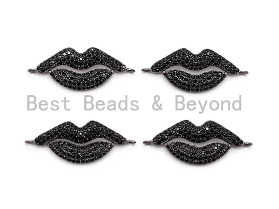 Black CZ Pave On Black Micro Pave Black Lip Connector, CZ Pave Connector, Gumental plated, 12x30mm,sku#M224