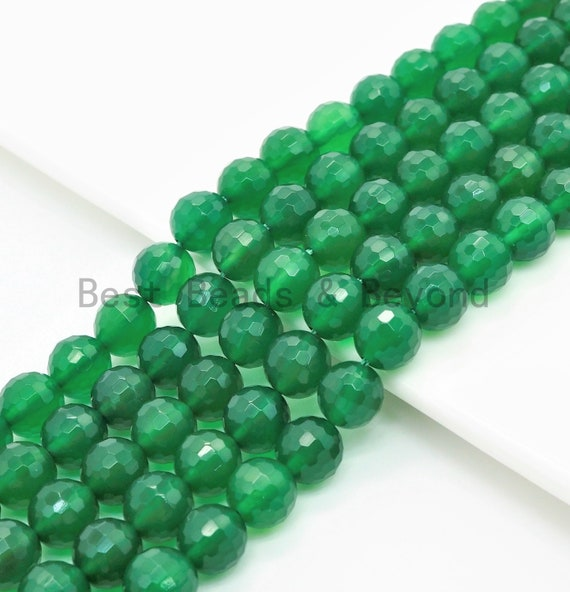 """Quality Faceted Green Agate Beads, 6mm/8mm/10mm/12mm, Green Agate Beads,15.5"""" Full Strand, SKU#U320"""