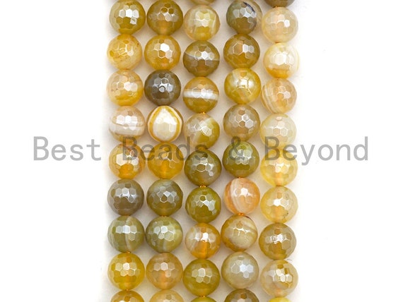 Mystic Plated Natural Faceted Plated Yellow Agate beads, 6mm/8mm/10mm/12mm Natural Yellow Natural Agate Beads, 15.5inch strand, SKU#U471