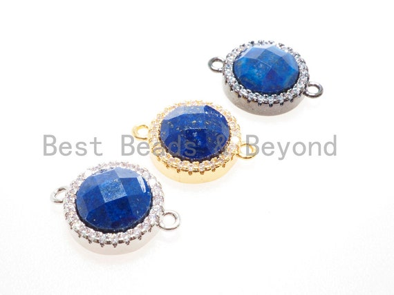 CZ Micro Pave with Lapis Connector Beads, Lapis Gemstone Cubic Zirconia Charm, CZ Pave Beads, Black/Gold/Silver,11x16x5mm, sku#Y89