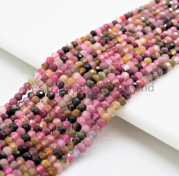 Quality Natural Tourmaline Rondelle/Round Faceted beads, 2x3mm/3mm Multi Colored Gemstone Beads,15.5inch strand, SKU#U374