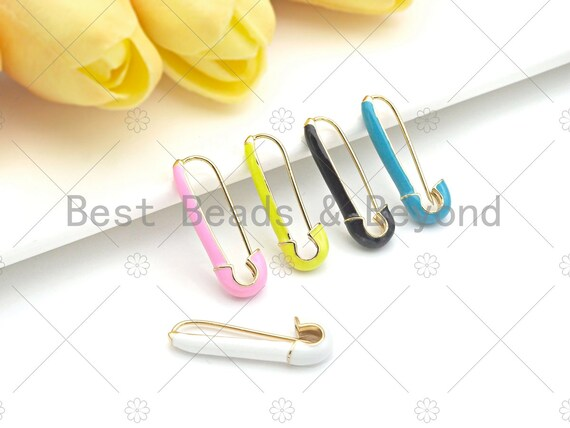 Colorful Enamel Safety Pin earrings, Safety Pin Pendant/Clasp, Enamel Jewlery,Enamel Safety Pin Clasp, Necklace Clasp, 9x29mm,sku#J307
