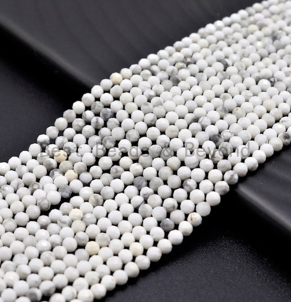 2mm/3mm Natural Faceted Round Howlite beads, Natural White Gemstone beads, Natural Howlite Beads, 15.5inch strand, SKU#U371